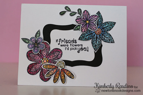 Friendship Flower Card by Kimberly Rendino | Beautiful Blossoms stamp set by Newton's Nook Designs