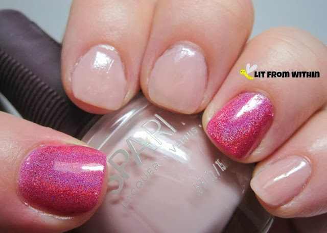 SpaRitual Calm and Clear with accent nails of Above The Curve Party Polish Pink V2.