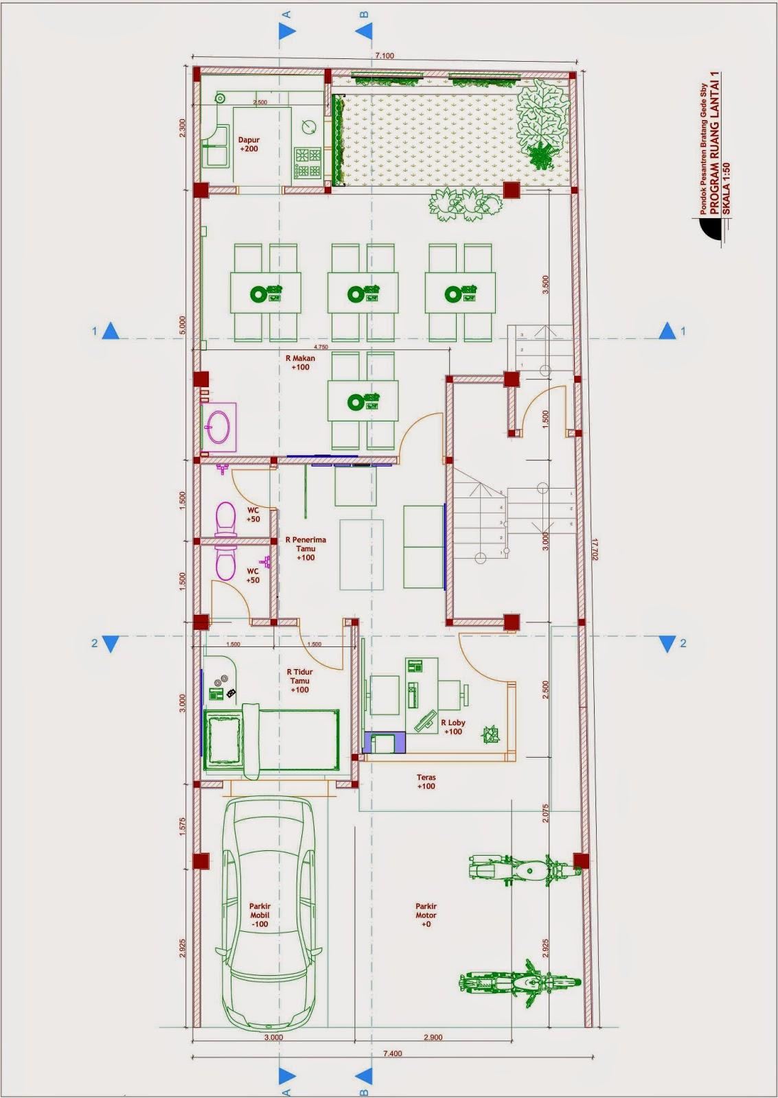 Desain Rumah Minimalis Jadi Pesantren - Denah Lt 1