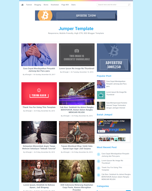 Jumper - Responsive and Mobile Friendly Blogger Template | Themeindie.com