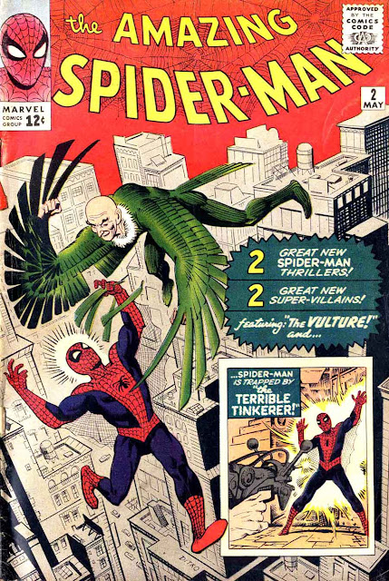 Amazing Spider-man v1 #2, 1963 marvel silver age comic book cover - 1st Vulture