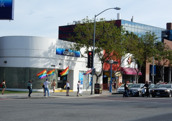 Pride flags fly along Santa Monica Boulevard WEHO