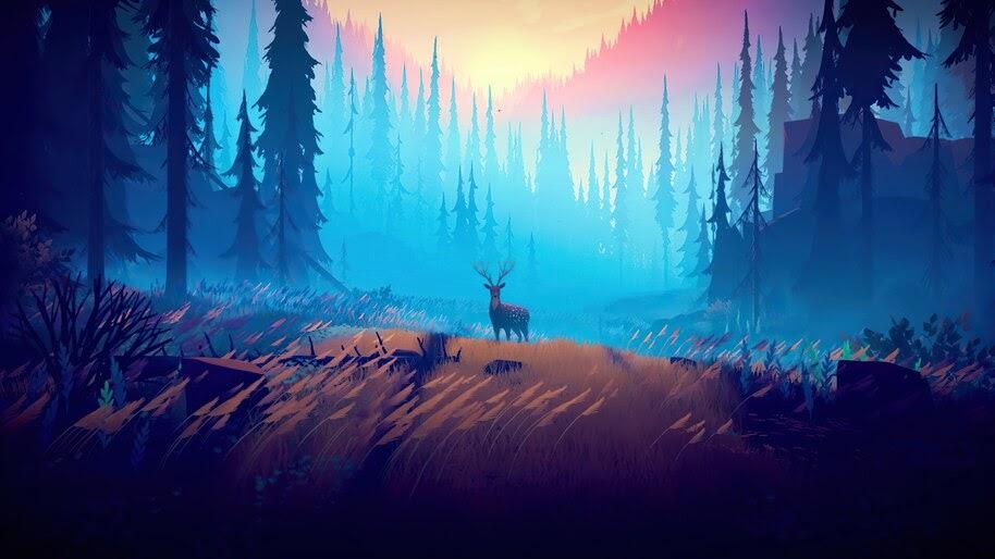 Forest, Deer, Nature, Scenery, Digital Art, 4K, #6.2175