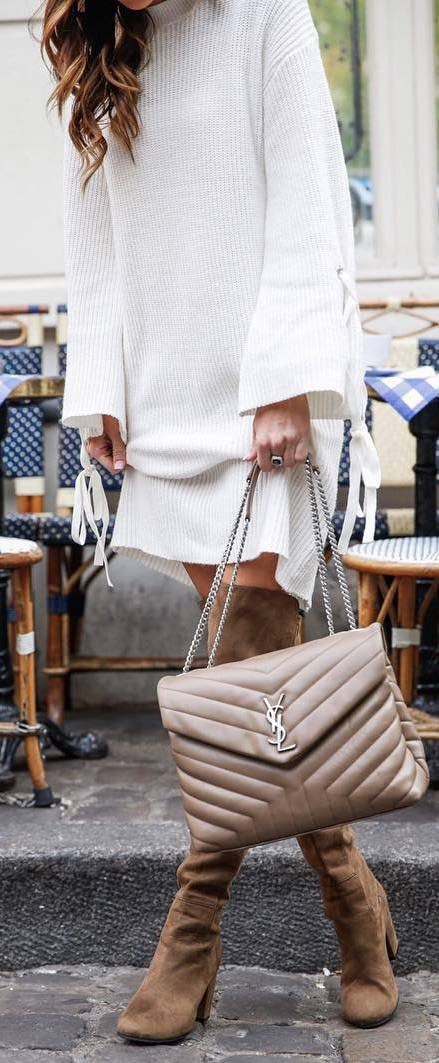 amazing winter outfit / white sweater dress + bag + nude over the knee boots