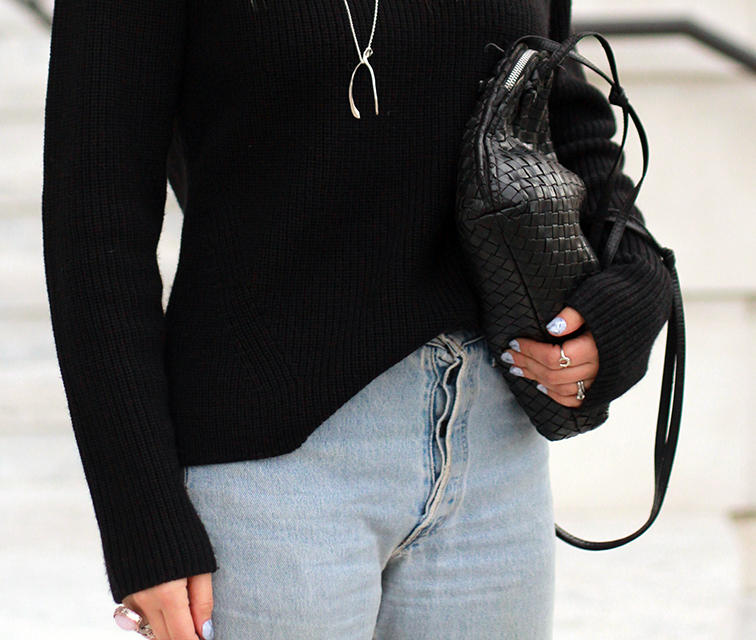Heleneisfor - Everlane sweater, Levis vintage 501 button fly,  Bottega Veneta cross body bag, VERAMEAT wishbone necklace, Static hard as stone nails