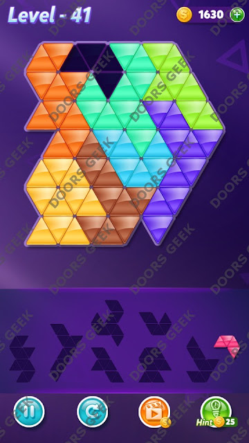 Block! Triangle Puzzle 8 Mania Level 41 Solution, Cheats, Walkthrough for Android, iPhone, iPad and iPod
