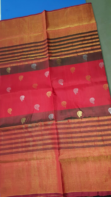 Uppada Brown color Silk Saree with small butta