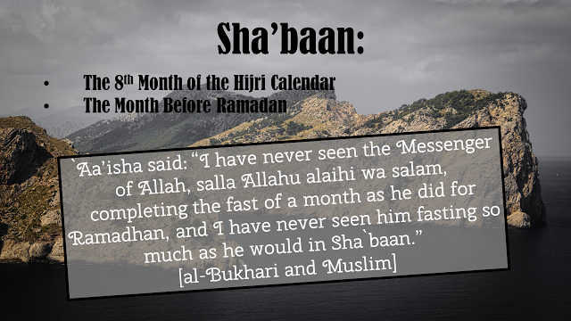 ". Aa'isha said: ""I have never seen the Messenger of Allah, salla Allahu alaihi wa salam, completing the fast of a month as he did for Ramadhan, and I have never seen him fasting so much as he would in Sha`baan."" [al-Bukhari and Muslim]"
