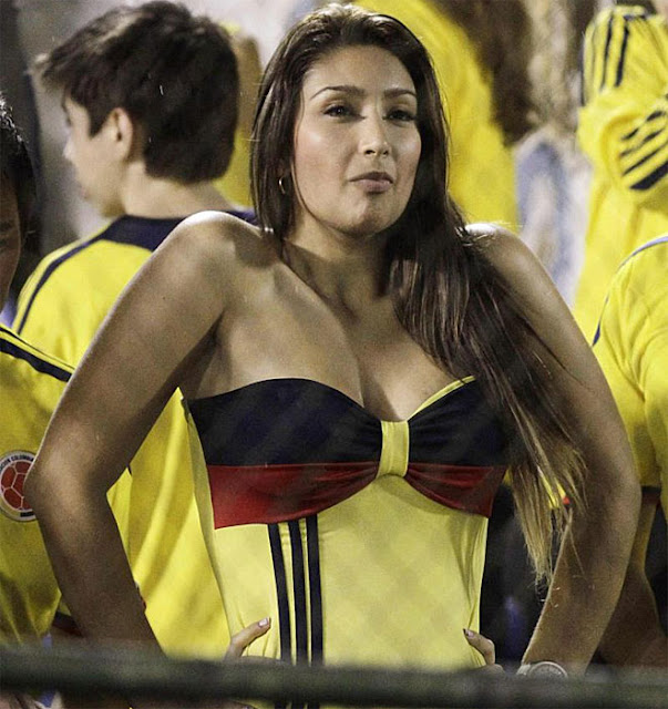Female Colombian fan at Paraguay vs Colombia game