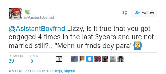 Lizzy come, your friends are about to disgrace you for boyfriend snatching