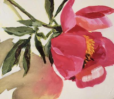 Pink peony oil painting by Philine van der Vegte