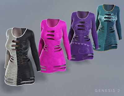 Sci-fi Slotted Dress for Genesis 2 Female Textures