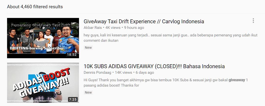 hasil pencarian youtube