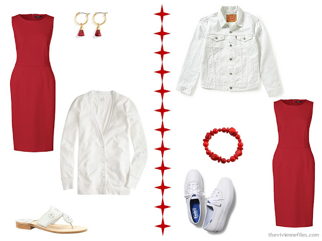 How to wear a red dress with a white cardigan or jacket