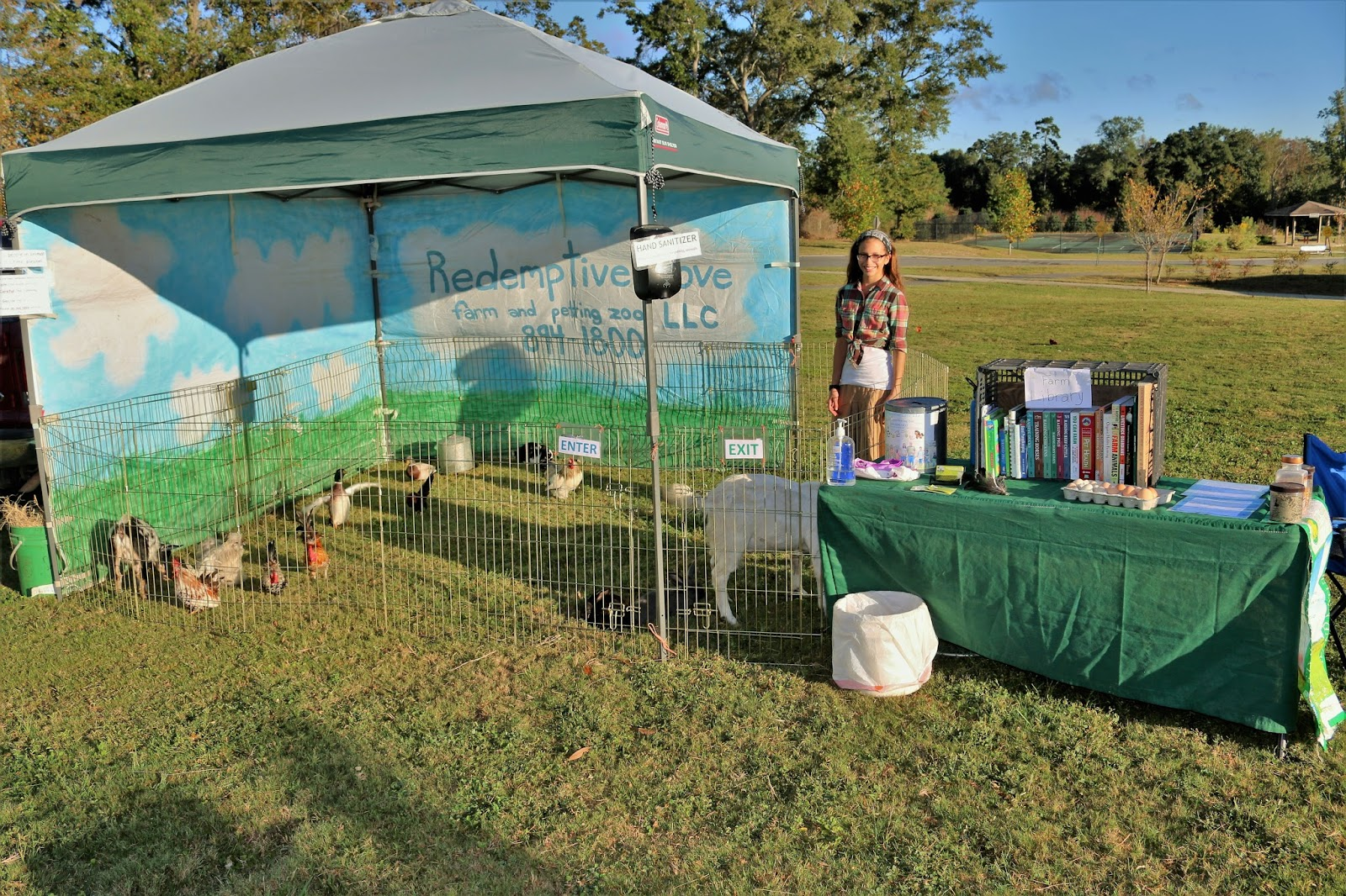 Included 10x10 tent with 8 small farm pets (may include a mix of poultry chickens ducks bunnies a goat lamb and/or a pig) PLUS a table and cage set-up ... & Redemptive Love Farm: Traveling Farm Tent