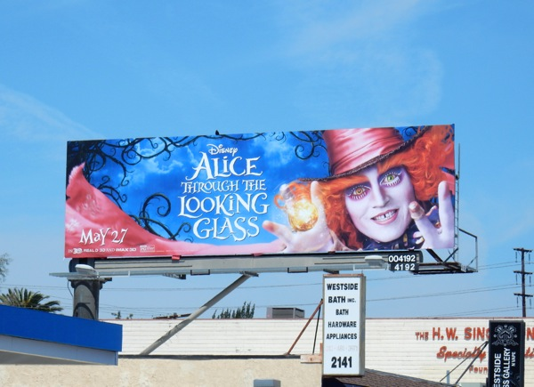 Mad Hatter Alice through Looking Glass movie billboard