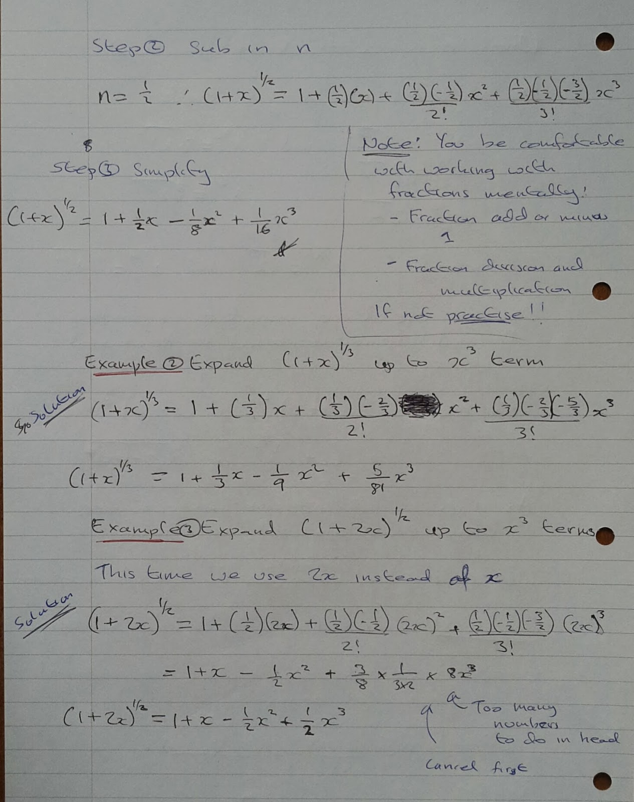 A Level Maths Notes: A2 Binomial Expansion: positive
