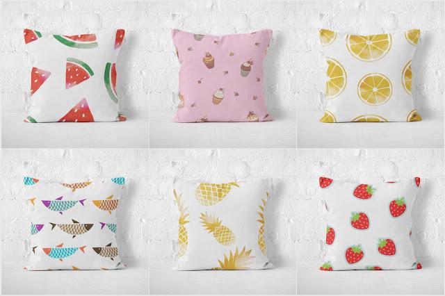 tkaniny dekoracyjne z owocami, materiały dekoracyjne z motywem jedzenia