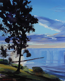 An acrylic painting of the pier at Krull Park on Lake Ontario.