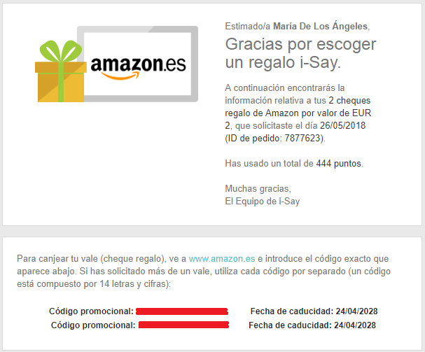 cheques regalo y códigos promocionales amazon donde los tengo
