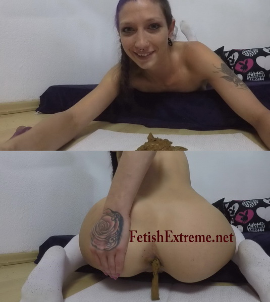Stretching Causes Bowel Movement. The girl in a dress pooping (Pooping fetishextreme 287-292)