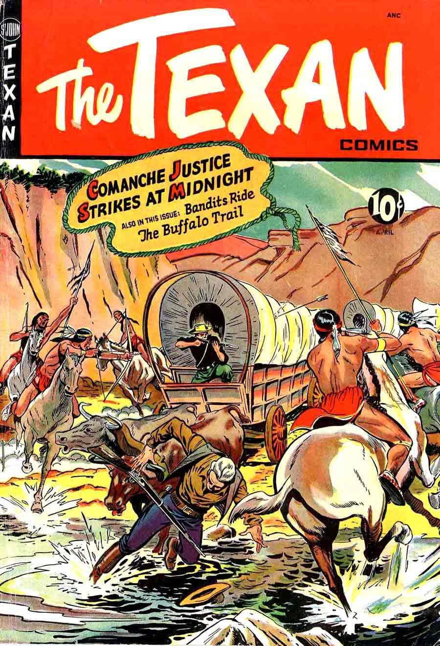 Matt Baker golden age 1950s st. john western comic book cover art - Texan #7