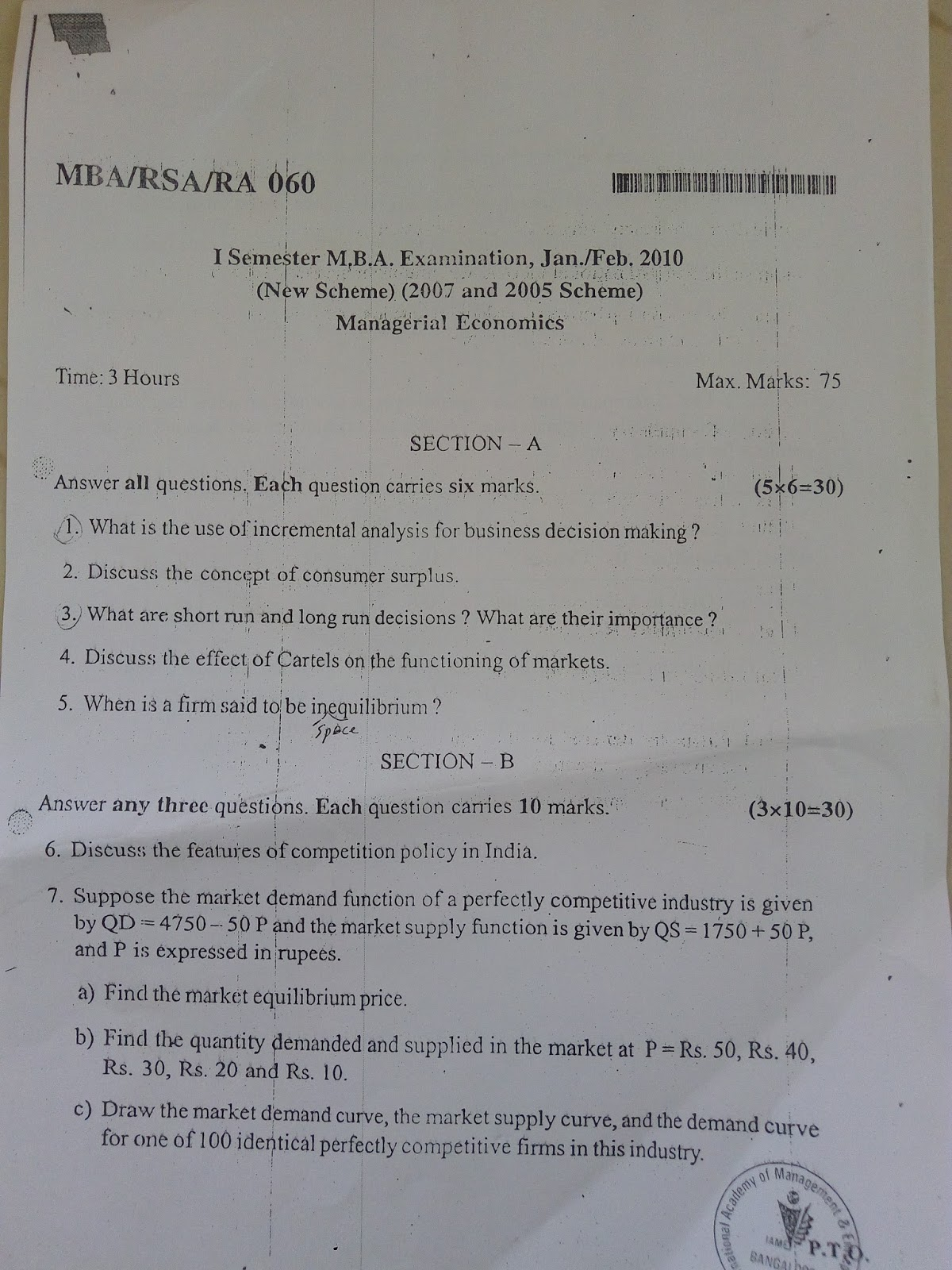 I SEM MANAGERIAL ECONOMICS QUESTION PAPERS of year 2010