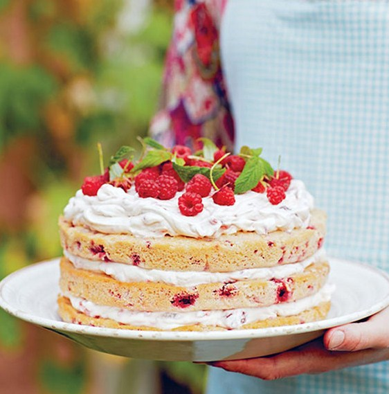 Natural Naked Raspberry Cake