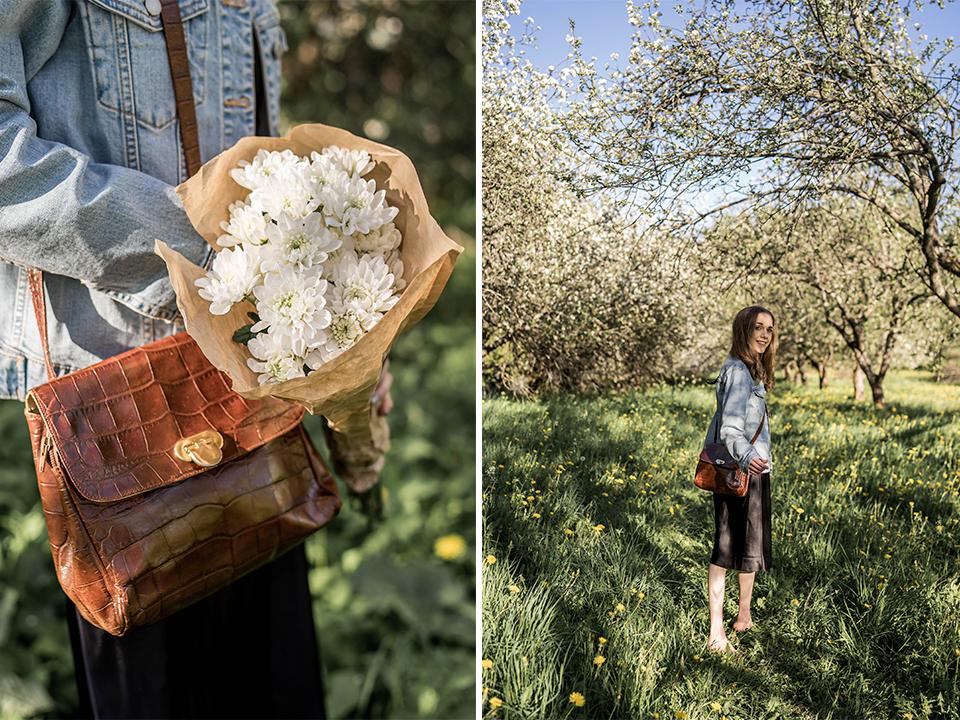 Furla vintage handbag and flower - Furlan vintagelaukku ja kukkia