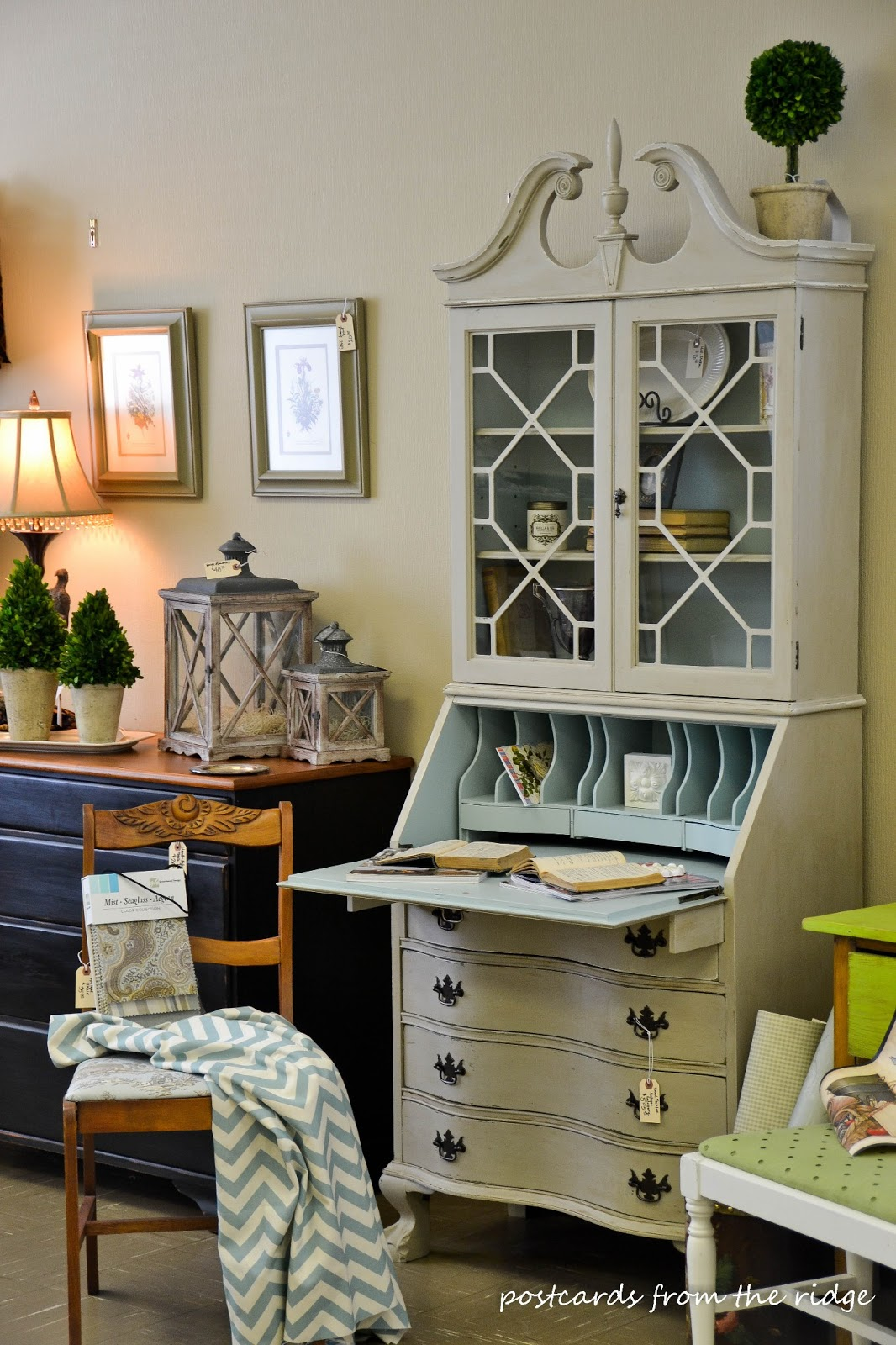 Gallery Buff And Wythe Blue Painted Vintage Secretary Hutch