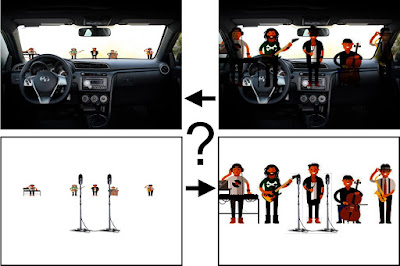 composition image in four parts. First, micro musicians in front of larger microphones on a white stage. Second, micro musicians on top of a car dash serving as their stage. Third, real sized musicians on top of a car dash serving as their stage. Fourth, real sized musicians in front of microphones on a white stage.