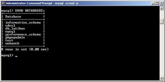Cara Melihat Daftar Database MySQL Menggunakan Command Prompt