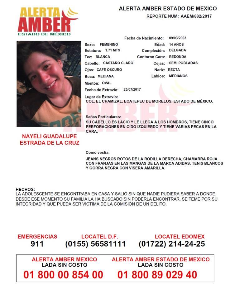 ed284857a3 Alerta Amber Estado de México de Nayeli Guadalupe Estrada de la Cruz ...