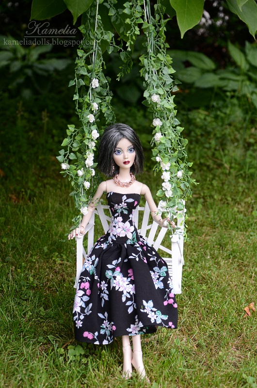 Handmade dress and jewellery for Evangeline Ghastly
