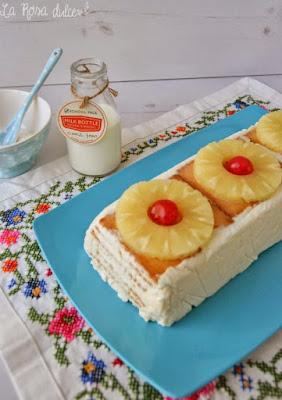 Pastel de galletas y piña