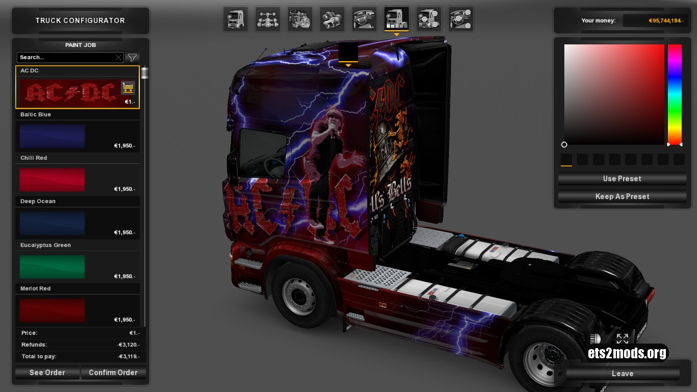 AC DC Skin for Scania RJL