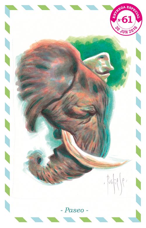 Ilustración de un elefante colorido con un curioso hombrecillo a cuestas.
