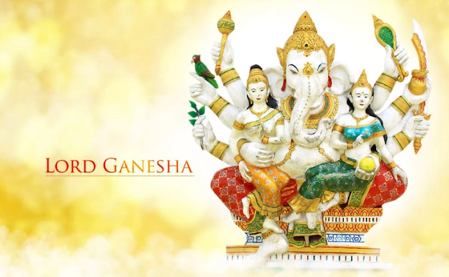 Ganesh Chaturthi Wallpaper with Ridhi and Sidhi