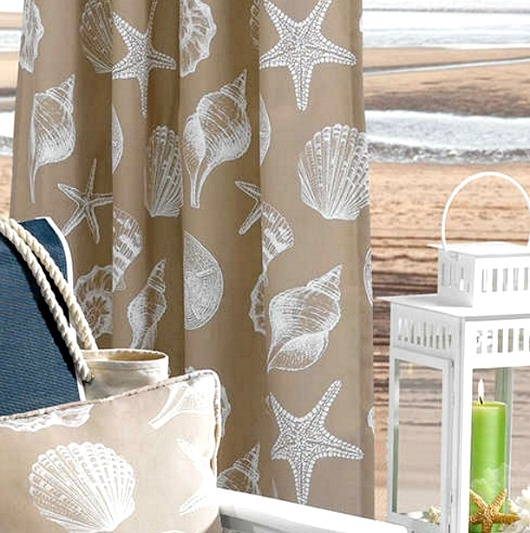 Beach Shells Outdoor Curtain Panels
