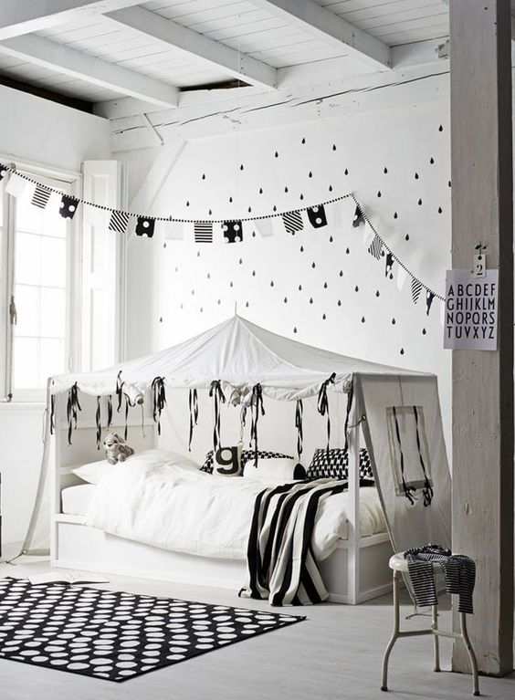 Inspirational kids room in monochrome - tent-bed