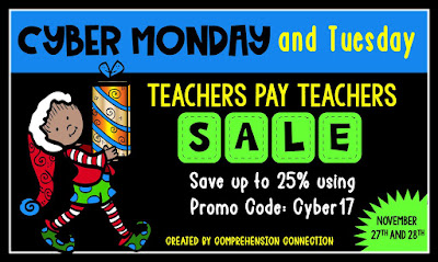 Cyber sale, Carla Fedeler, Comprehension Connection, TpT, Mentoring in the Middle