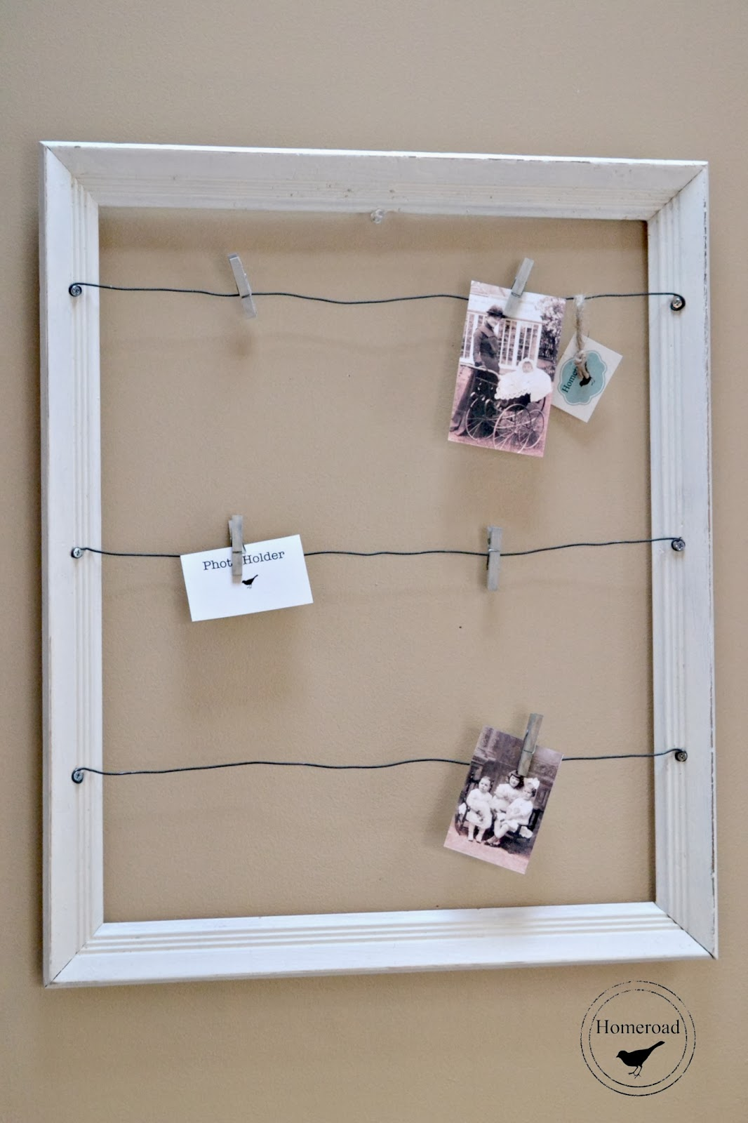 wire white framed photo display www.homeroad.net