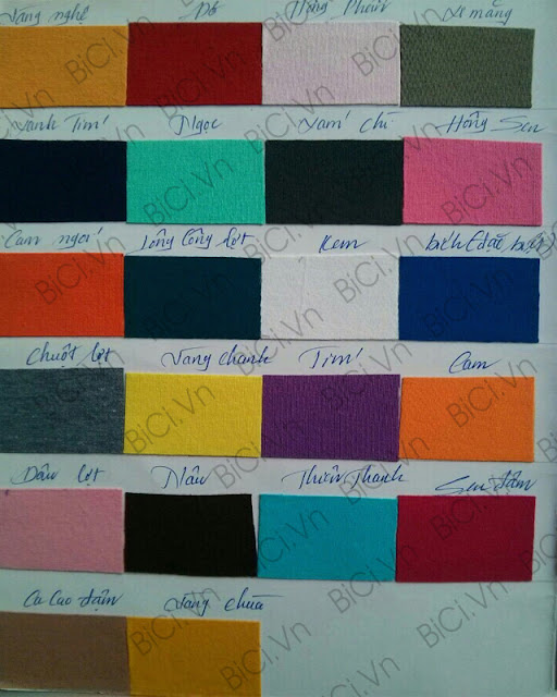 Bảng màu vải cotton