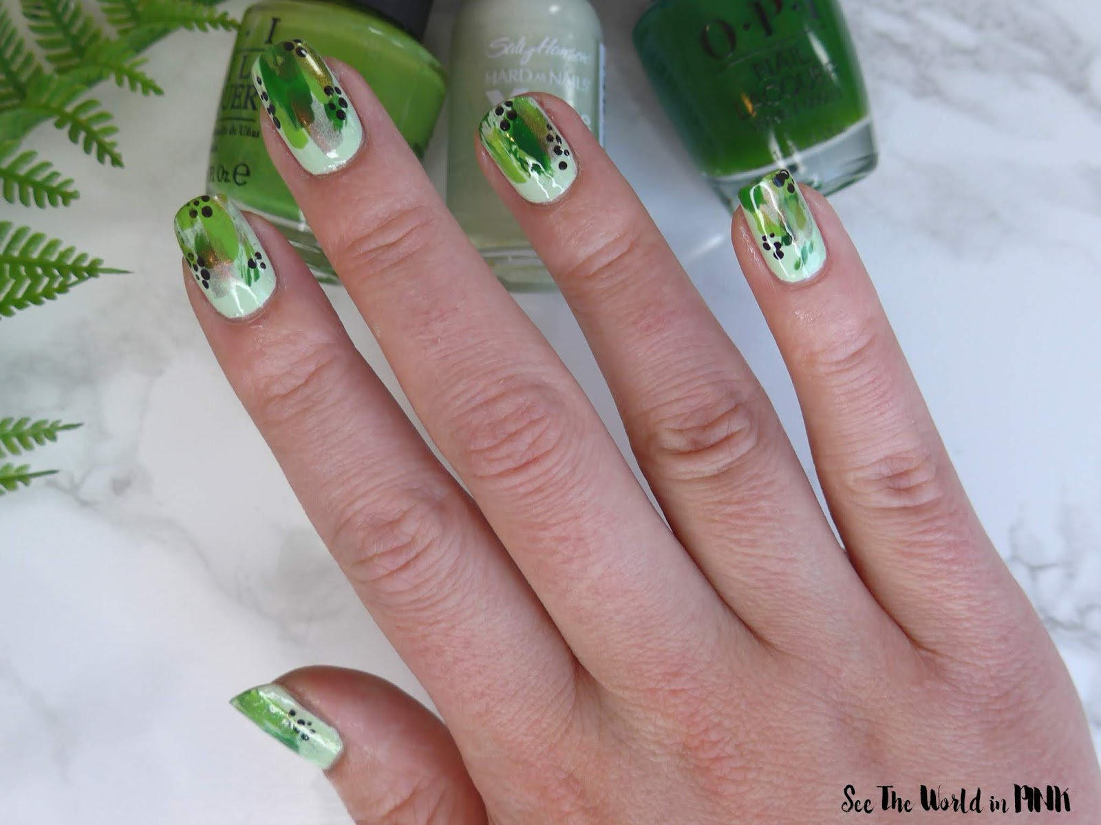 Manicure Monday - Green Abstract Nail Art
