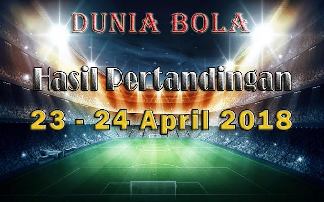 Hasil Pertandingan Sepak Bola Tanggal 23 - 24 April 2018