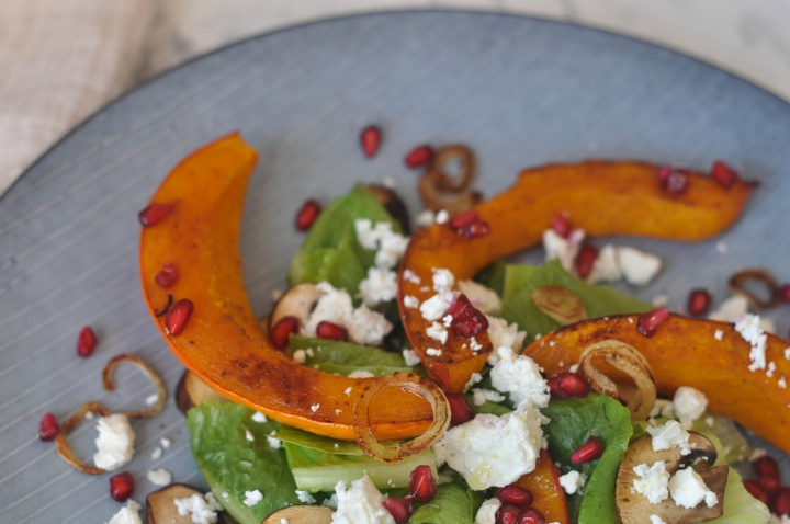 #salad with #pumpkin and #pomgranate and it's #glutenfree, too!