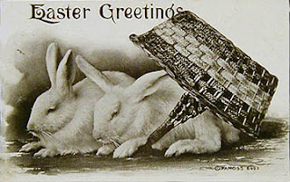 Antique vintage Real Photo Easter Post Card postcard with bunnies
