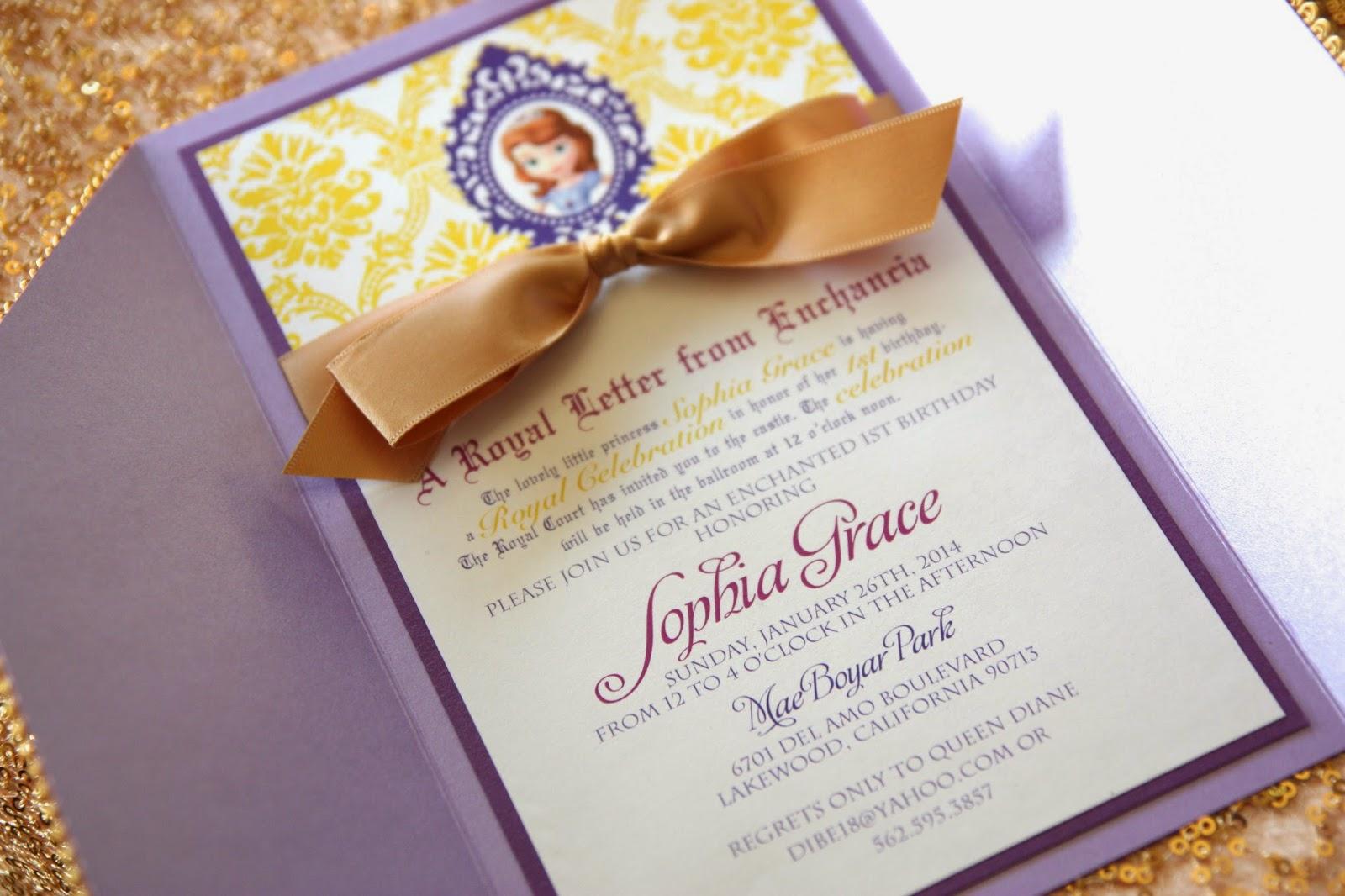 Sophia The First Inspired Birthday Invitations