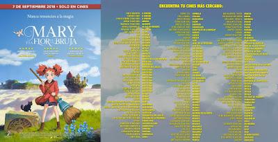 listado de salas españolas definitivo en als que se estrenará este 7 de septiembre el film anime Mary y la Flor de la Bruja.