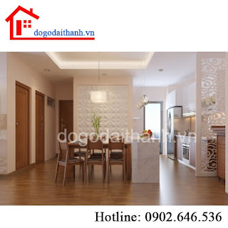Tấm cnc trang trí, thiết kế vách ngăn phòng khách và bếp